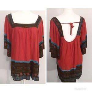 Entro boho embroidered peasant style tunic top